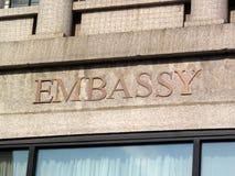 Het Teken van de ambassade Stock Fotografie