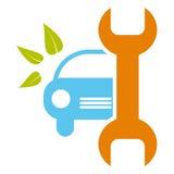 Het teken van de autodienst - gezond milieu, bioconcept Royalty-vrije Stock Afbeeldingen