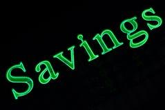 Het Teken van de Besparingen van het neon stock afbeelding