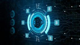 Het teken van de Bitcoinmunt in digitaal cyberspace, Bedrijfs en Technologienetwerkconcept stock afbeelding
