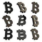 Het teken van de Bitcoinmunt geeft terug Stock Fotografie