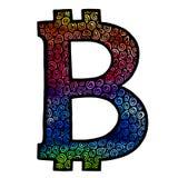 Het Teken van de Bitcoinwaterverf Stock Foto