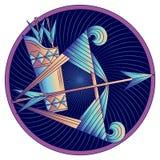Het teken van de Boogschutterdierenriem, horoscoopsymbool, vector stock foto