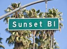 Het Teken van de Boulevard van de zonsondergang Royalty-vrije Stock Foto's