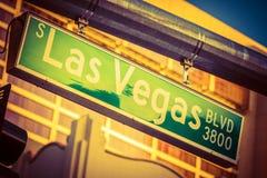 Het teken van de Boulevard van Vegas van Las stock afbeeldingen
