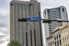 Het teken van de bourbonstraat in New Orleans, Louisiane Royalty-vrije Stock Foto