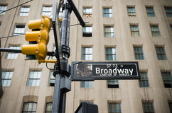 Het teken van de Broadwaystraat Stock Foto's