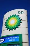 Het teken van de de benzinepost van BP Stock Afbeeldingen