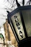 Het teken van de de metroingang van New York Stock Foto