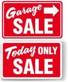 Het teken van de de pijl vandaag SLECHTS VERKOOP van de garage Stock Fotografie