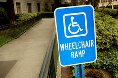 Het teken van de de rolstoelhelling van de handicap royalty-vrije stock afbeelding