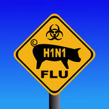 Het teken van de de varkensgriep van de waarschuwing H1N1 Stock Afbeelding