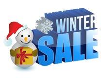 Het teken van de de verkoopsneeuwman van de winter Stock Afbeelding