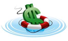 Het teken van de dollar in de reddingsboei