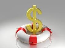 Het teken van de dollar in de reddingsboei stock illustratie