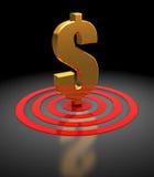 Het teken van de dollar in doel stock illustratie