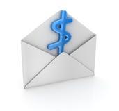 Het teken van de dollar in envelop Stock Fotografie