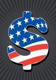 Het teken van de dollar met Amerikaanse vlag Stock Foto's