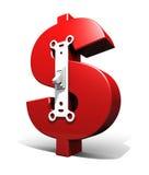 Het teken van de dollar met schakelaar Stock Afbeeldingen