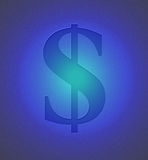 Het teken van de dollar op blauw metaal Vector Illustratie