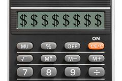 Het teken van de dollar op calculator Royalty-vrije Stock Foto's