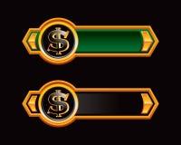 Het teken van de dollar op groene en zwarte pijlen Stock Afbeeldingen