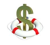 Het teken van de dollar in reddingsboei Stock Afbeeldingen