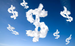 Het Teken van de Dollar van de wolk Stock Foto