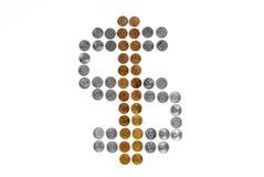 Het teken van de dollar van muntstukken Royalty-vrije Stock Afbeeldingen