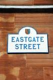 Het teken van de Eastgatestraat, Chester stock afbeeldingen