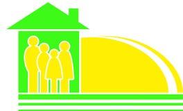 Het teken van de familie met zonsilhouet Stock Afbeeldingen