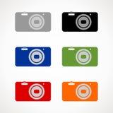 Het teken van de fotocamera op een witte achtergrond Stock Illustratie