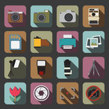 Het teken van de fotocamera op een witte achtergrond Stock Afbeelding