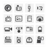 Het teken van de fotocamera op een witte achtergrond Stock Foto's