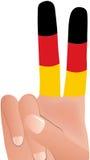 Het teken van de Gesturingsvrede in Duitse Vlag Royalty-vrije Stock Foto's