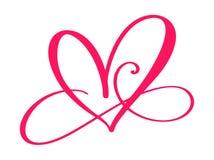 Het teken van de hartliefde voor altijd Verbonden treedt het oneindigheids Romantische symbool, hartstocht en huwelijk toe Malpla royalty-vrije illustratie