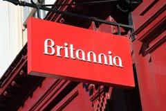 Het Teken van de Hypotheekbank van Britannia Royalty-vrije Stock Foto's