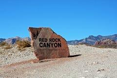 Het teken van de ingang van de Rode Canion van de Rots Stock Foto