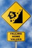 Het Teken van de Instorting van de Immobiliënmarkt op Blauwe Hemel Stock Foto's