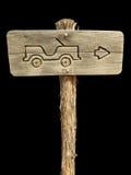 Het Teken van de jeep op Zwarte Stock Foto's
