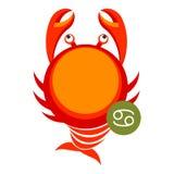 Het teken van de kankerastrologie op wit wordt geïsoleerd dat Het symbool van de horoscoopdierenriem Royalty-vrije Stock Foto's