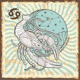 Het teken van de kankerdierenriem Uitstekende Horoscoopkaart Royalty-vrije Stock Afbeeldingen
