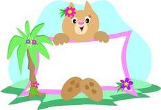 Het Teken van de kat met Palm en Bloemen Royalty-vrije Stock Afbeelding