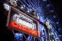 Het teken van de Kerstmismarkt van Edinburgh stock foto's