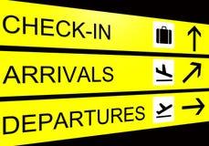 Het teken van de luchthaven, aankomst, vertrek, controle binnen Stock Foto