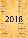 Het teken van de malplaatje 2018 Kalender Kleurrijke pictogrammen van de pop-art de grappige stijl Vector Royalty-vrije Illustratie