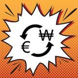 Het teken van de muntuitwisseling De euro en Zuid-Korea wonnen Vector comics vector illustratie