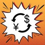 Het teken van de muntuitwisseling De Yen en de Amerikaanse dollar van Japan Vector comics vector illustratie