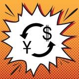 Het teken van de muntuitwisseling De Yuans en de Amerikaanse dollar van China Vector comics stock illustratie