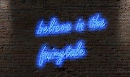 het teken van de neonbrief met het citaat gelooft in fairytale op br vector illustratie